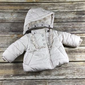 Baby Gap White Puffer Jacket Removable Hood 3-6m